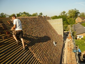 Listed Graded Building Roofing Project Starting to Lay Roof Tiles